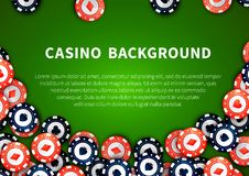 Red And Blue Casino Chips On Green Table, Background With Text Template Stock Photography
