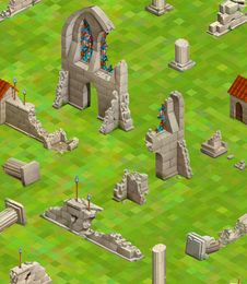 Free Medieval Buildings On Green Grass, Isometric Seamless Pattern Stock Photo - 76765120