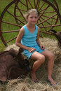 Free Girl In Blue On The Farm Stock Photo - 773510