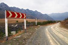 Free Roadside Chevron Board And Road. Royalty Free Stock Photo - 771395