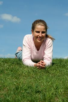 Free Woman Lying On Grass Stock Photos - 778823