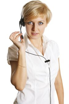 Free Woman Wearing Headset Stock Images - 7700224