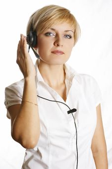 Free Customer Representative With Headset Smiling Durin Royalty Free Stock Images - 7700249
