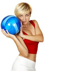 Beautiful Girl With Ball Stock Images