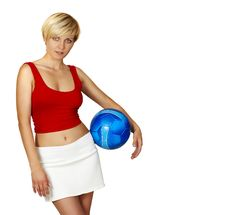 Beautiful Girl With Blue Ball Stock Image