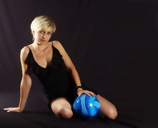 Girl And Ball Stock Photos