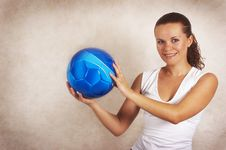 Beautiful Girl With Ball Royalty Free Stock Images
