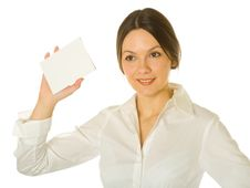 Woman With Card For Text Stock Photo