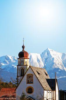 Church In Alpine Scenery Stock Photo