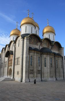 Ortodox Cathedral And A Figure Of Woman Stock Images