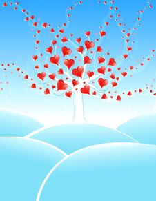 Free Winter Valentine Tree Royalty Free Stock Images - 7703399