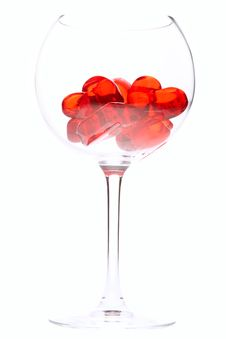 Red Jelly Hearts In Wine Glass Stock Photos