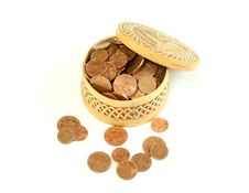 Free Carved Wooden Box Full Of Coins, Isolated On A Whi Stock Photo - 7703990