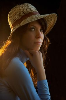 Free Young Lady With Straw Hat On Royalty Free Stock Photos - 7704008