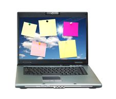 Notebook With Colored Notes On Monitor Royalty Free Stock Photos