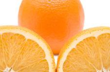 Slice Of Orange. Isolated On White. Stock Photography