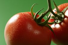 Free Red Tomato Macro Over Green Background Royalty Free Stock Photos - 7708348