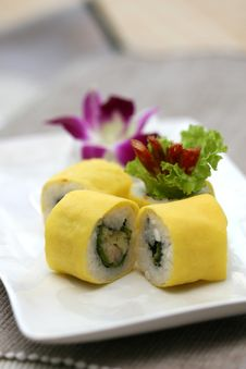 Prepared And Delicious Sushi Taken In Studio Stock Image