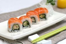 Prepared And Delicious Sushi Taken In Studio Royalty Free Stock Image