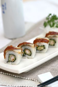 Prepared And Delicious Sushi Taken In Studio Stock Photography