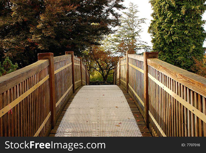 Botanical garden bridge in autumn