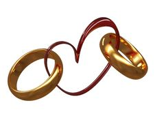 Wedding Rings On A Background Of Heart Stock Image