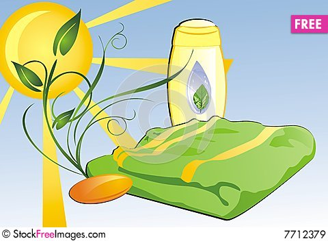 Shampoo, soap and towel. Composition for card Cartoon Illustration