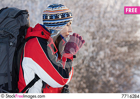 Free Hiker On The Snow Stock Images - 7716284