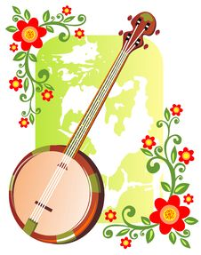 Free Banjo With Flowers Stock Image - 7710111