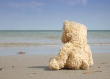 Alone And Depressed At The Beach Stock Photos