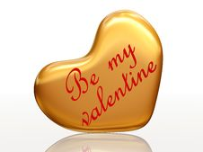 Free Be My Valentine In Golden Heart Royalty Free Stock Images - 7710619