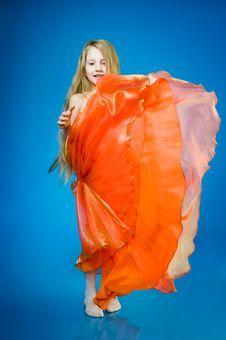 Free Cute Little Girl In Orange Dress Royalty Free Stock Image - 7711926