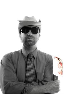 Free Pyschopath And Butcher Knife Businessman, Hat Stock Photography - 7712562