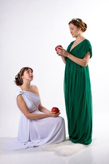 Free Two Ladies And Two Apples Stock Photography - 7712912