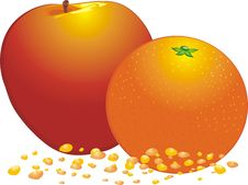 Free Orange And Apple. Drops Of Juice Royalty Free Stock Photo - 7713895