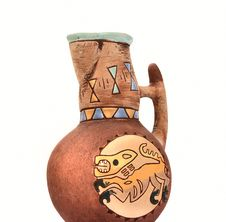 Clay Jug With Ethnic Pattern Stock Images