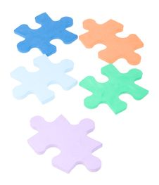 Free Five Colored Puzzle Blocks Royalty Free Stock Photos - 7715418