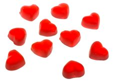 Ten Heart Shaped Fruit Jellies Stock Images