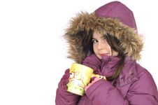 Free Little Girl With Cup Of Hot Tea Stock Image - 7715781