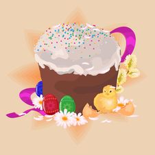 Free Easter Cake, Eggs And Chicke Royalty Free Stock Photos - 7715798