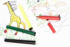 Free Child Drawings Royalty Free Stock Photo - 7715805