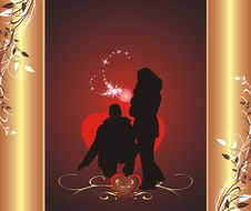 Free Silhouettes Of Woman And Man. Wrapping For Candies Stock Photography - 7716192