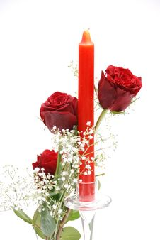 Red Roses With Candle Stock Photo