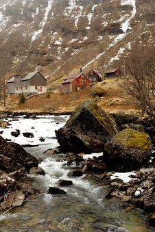 Norway Tipical Rural Hut And Lanscape Royalty Free Stock Photos