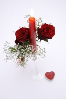 Red Roses With Candle Stock Photography