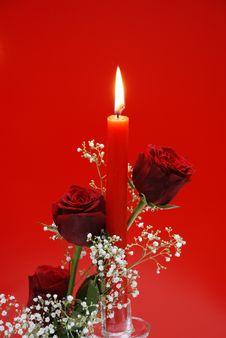 Free Red Roses With Candle Stock Photo - 7716480