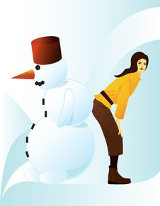 Free Girl With Snowman Stock Image - 7717931