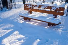 Free Wood Bench In Winter Forest Royalty Free Stock Photo - 7718335