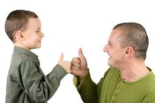 Father And Son Showing Ok Sign Stock Image