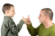 Father And Son Showing Ok Sign Stock Photo